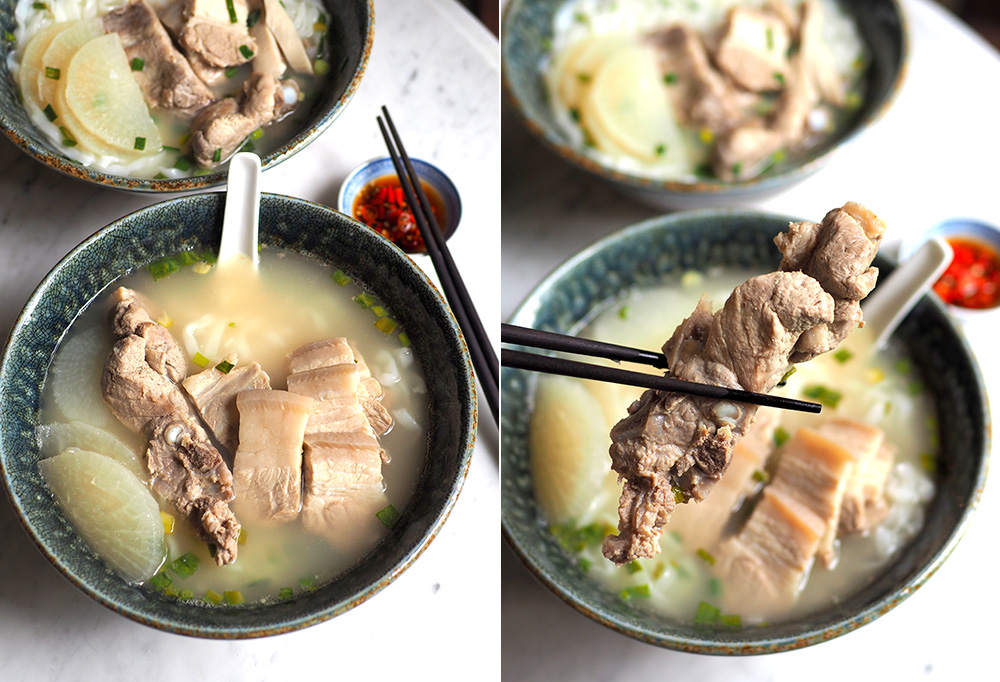 The Emperor pork bone noodles is unique as it is served with a long pork rib and pork belly (left). Get your hands on this meaty piece of pork rib (right).