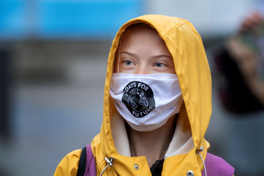 Swedish climate activist Greta Thunberg attends a Fridays For Future protest at the Swedish Parliament (Riksdagen) in Stockholm, Sweden October 9, 2020. ― Reuters pic
