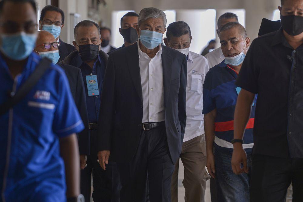 Datuk Seri Zahid Hamidi arrives at the Kuala Lumpur High Court October 13, 2020. — Picture by Miera Zulyana