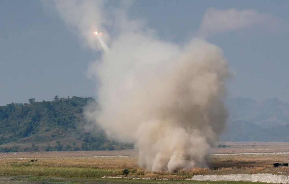 File picture shows the US military firing a High Mobility Artillery Rocket System (HIMARS) during a military exercise with Philippine troops called 'Balikatan' (shoulder-to-shoulder) in Capas, Tarlac in northern Philippines April 14, 2016. — Reuters pic