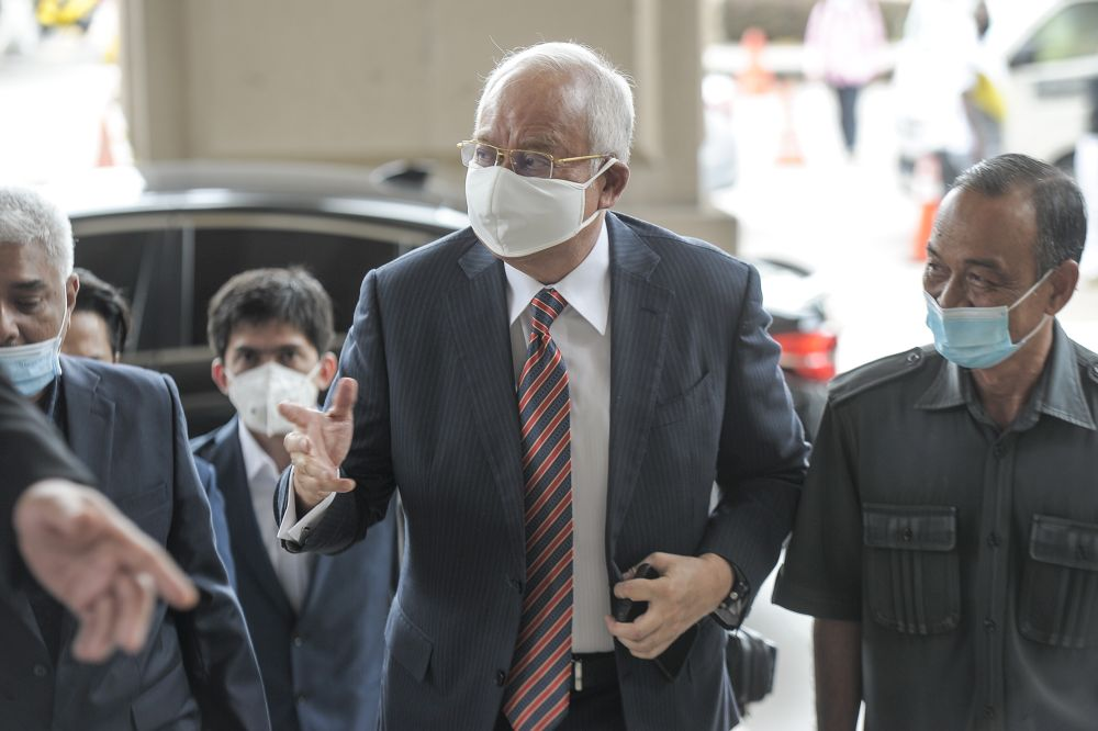 Datuk Seri Najib Razak is on trial for corruption and money laundering charges involving RM2.3 billion of 1MDB funds. — Picture by Shafwan Zaidon