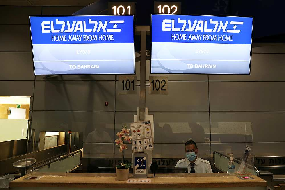 Signs at the counter of Israeli flag carrier El Al shows flight details to Bahrain, at Ben Gurion International Airport, in Lod, near Tel Aviv, Israel October 18, 2020. — Reuters pic
