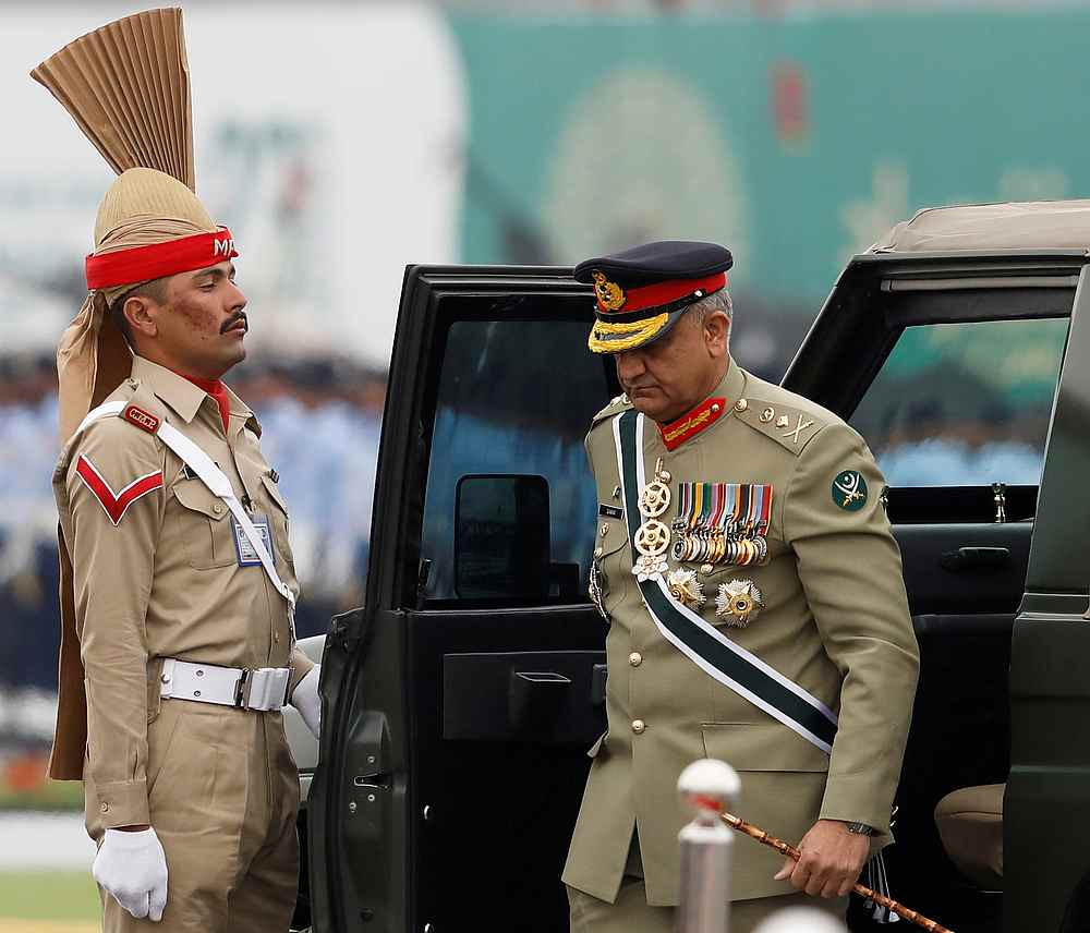 Pakistan's Army Chief of Staff General Qamar Javed Bajwa arrives to attend the Pakistan Day military parade in Islamabad Pakistan