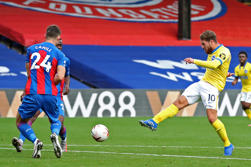 Brighton's midfielder Alexis Mac Allister shoots to score their first goal during the English Premier League football match between Crystal Palace and Brighton and Hove Albion at Selhurst Park in south London October 18, 2020. — AFP pic