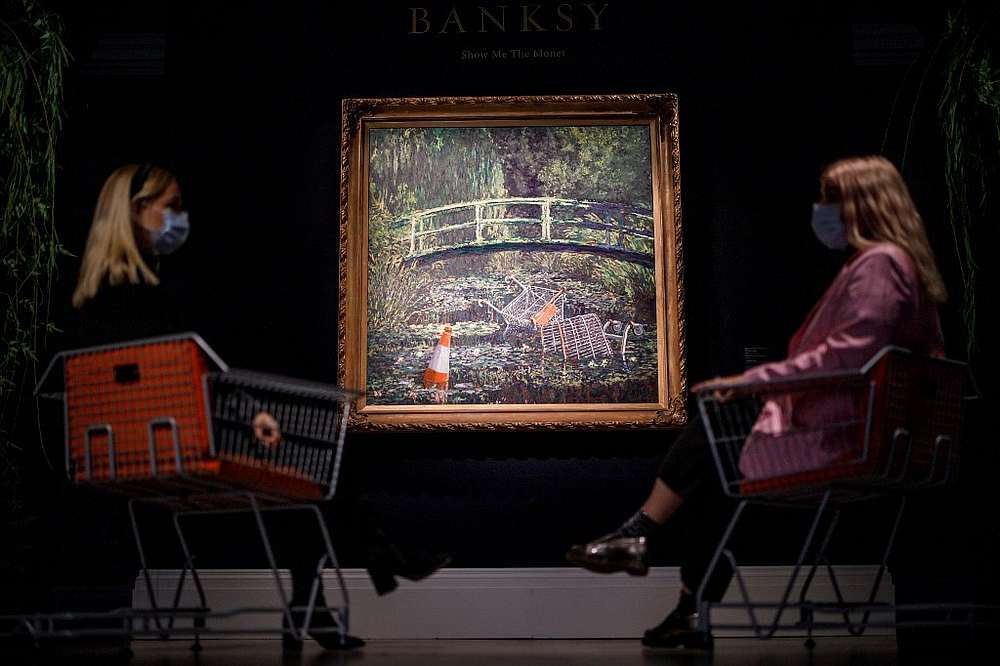 Banksy painting 'Show Me The Monet' sold for £7.5m at auction