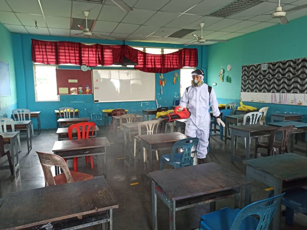 Carlsberg Malaysia disinfects about 670,000 sqm of classrooms, facilities and common areas prior to school reopening in June. — Picture courtesy of Carlsberg Malaysia