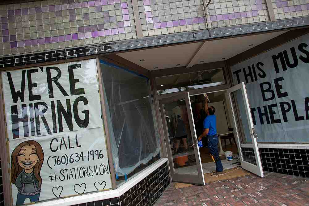 A new business advertises for workers as it prepares to open up during the outbreak of Covid-19 in Encinitas, California July 30, 2020. — Reuters pic