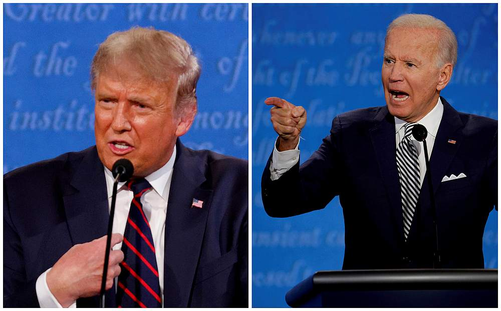 Donald Trump and Democratic presidential nominee Joe Biden during the first 2020 presidential campaign debate in Cleveland Ohio