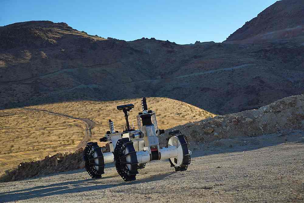 The DuAxel rover being tested in the California desert. — Picture courtesy of Nasa via AFP