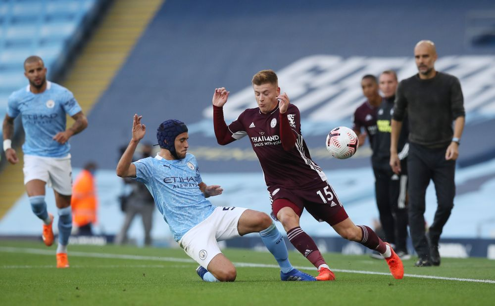 Manchester City's Eric Garcia in action with Leicester City's Harvey Barnes at the Etihad Stadium, Manchester September 27, 2020. — Reuters pic
