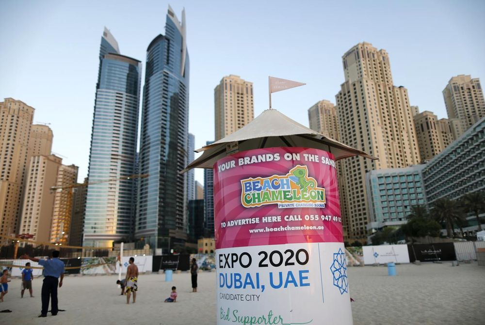 A booth is seen on a beach in Dubai carrying the Expo 2020 logo, October 20, 2013. — Reuters pic