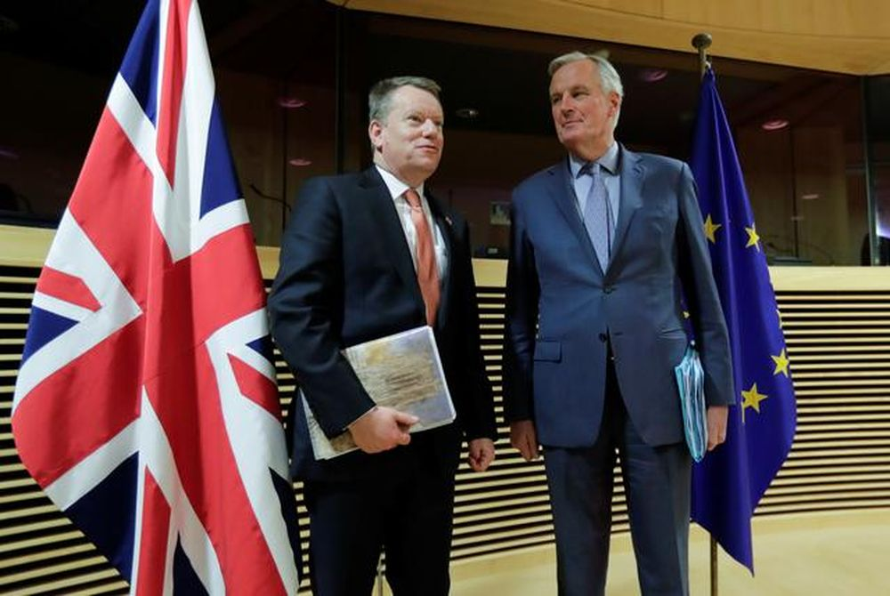 European Union chief Brexit negotiator Michel Barnier and British Prime Minister's Europe adviser David Frost 5 are seen at start of the first round of post -Brexit trade deal talks between the EU and the United Kingdom, in Brussels, Belgium March 2, 20