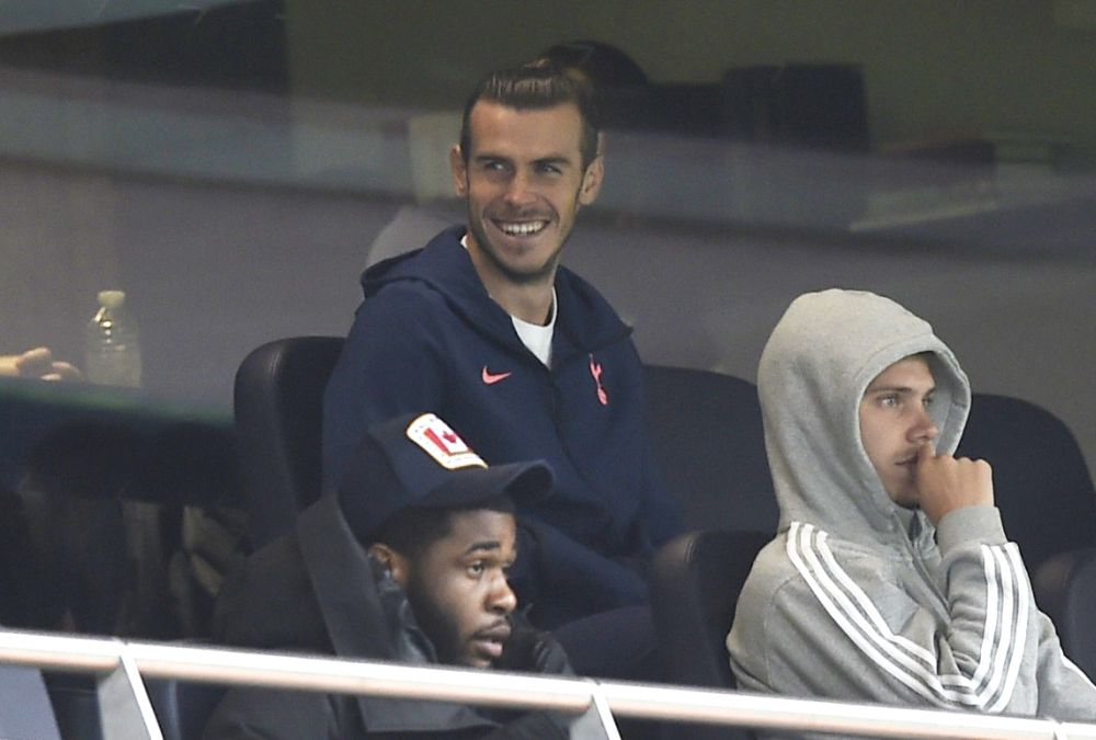 Tottenham Hotspur's Gareth Bale, Juan Foyth and Japhet Tanganga in the stands during the match against Newcastle United  at the Tottenham Hotspur Stadium, London September 27, 2020. — Reuters pic