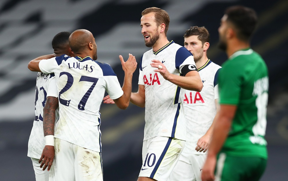 Tottenham Hotspur's Harry Kane celebrates with teammates after scoring the sixth goal against Maccabi Haifa October 1, 2020. ― Reuters pic
