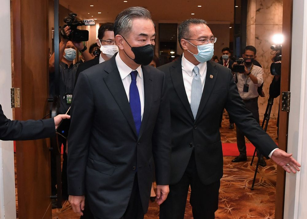 Foreign Minister Datuk Seri Hishammuddin Tun Hussein and his counterpart from China, Wang Yi (left), attend a bilateral meeting between both countries in Kuala Lumpur October 13, 2020. — Bernama pic