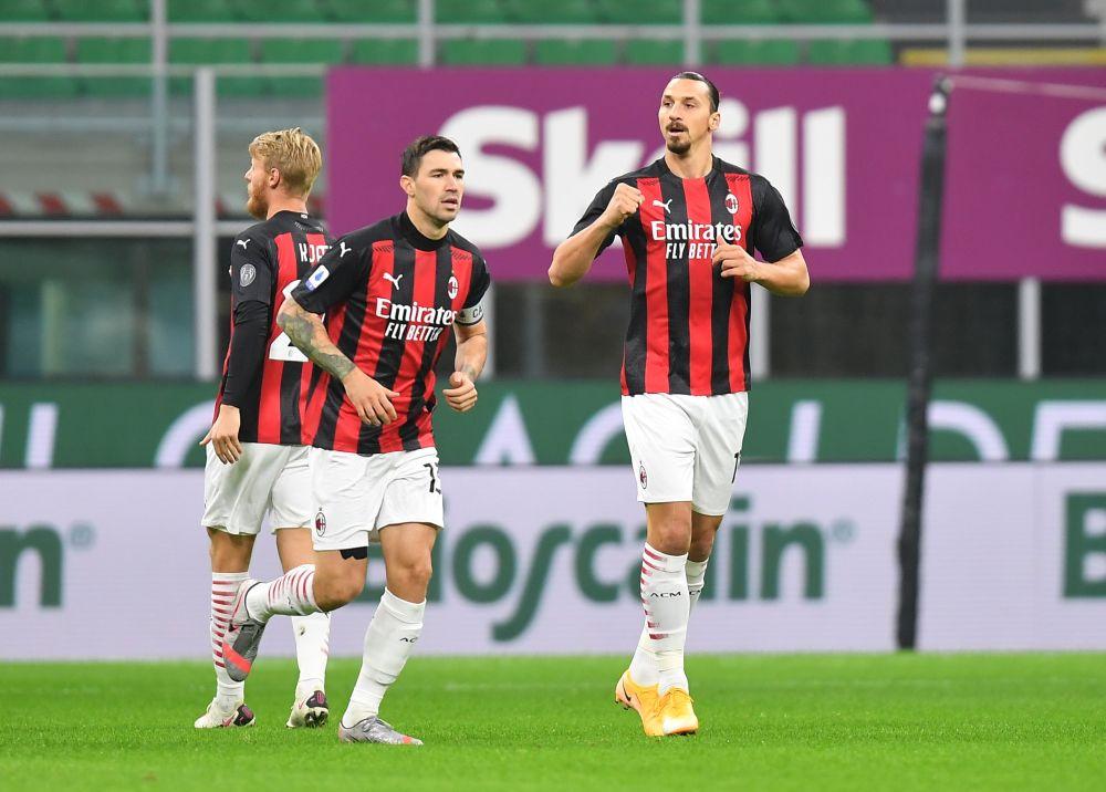AC Milan's Zlatan Ibrahimovic celebrates scoring against AS Roma at the San Siro, Milan October 26, 2020. — Reuters pic