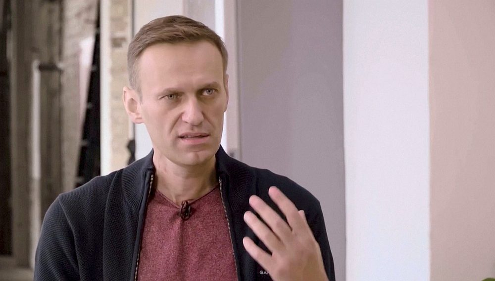 Russian opposition politician Alexei Navalny speaks during an interview in Berlin, Germany in this video still image released October 6, 2020. — YouTube-vDud image via Reuters