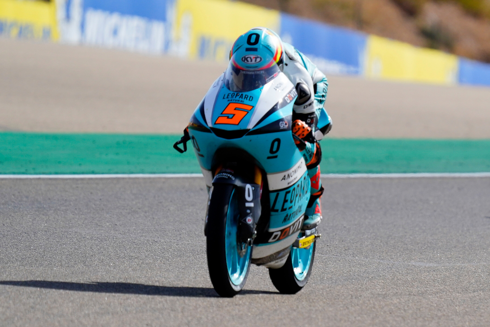Leopard Racing's Spanish rider Jaume Masia rides during the Moto3 race of the Moto Grand Prix of Aragon at the Motorland circuit in Alcaniz October 18, 2020. — AFP pic