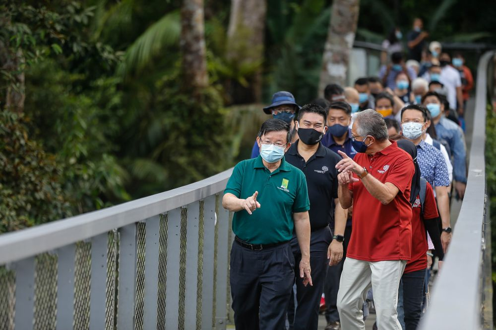 Penang Chief Minister Chow Kon Yeow during a visit to The Habitat at Penang Hill October 29, 2020. — Picture by Sayuti Zainudin