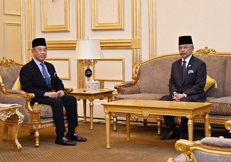 Prime Minister Tan Sri Muhyiddin Yassin meets with the Yang di-Pertuan Agong Al-Sultan Abdullah Ri'ayatuddin Al-Mustafa Billah Shah at Istana Negara in Kuala Lumpur October 21, 2020. — Picture via Facebook