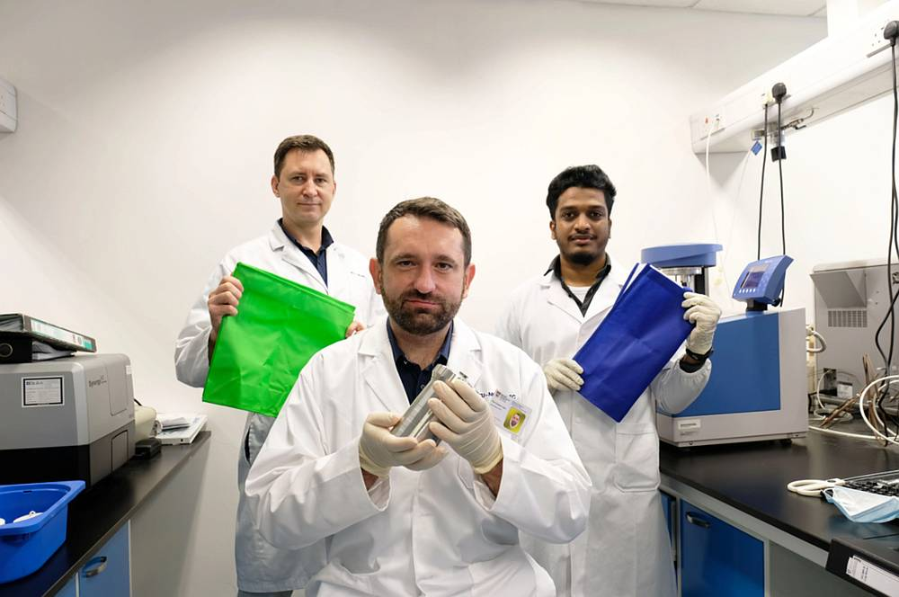 (From left) The Nanyang Technological University research team include senior reearch fellow Andrei Veksha, Assistant Professor Grzegorz Lisak, and research associate Ashiq Ahamed. — Picture courtesy of NTU via TODAY