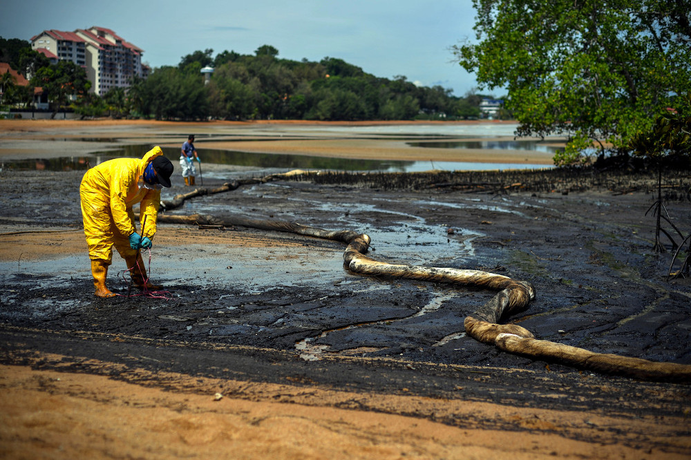 Work to clean up the oil spill being carried out in the mangrove area in Tanjung Tuan, October 18, 2020. — Bernama pic