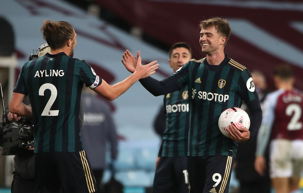 Leeds United's Patrick Bamford celebrates his hat-trick after the match against Aston Villa October 24, 2020. ― Reuters pic