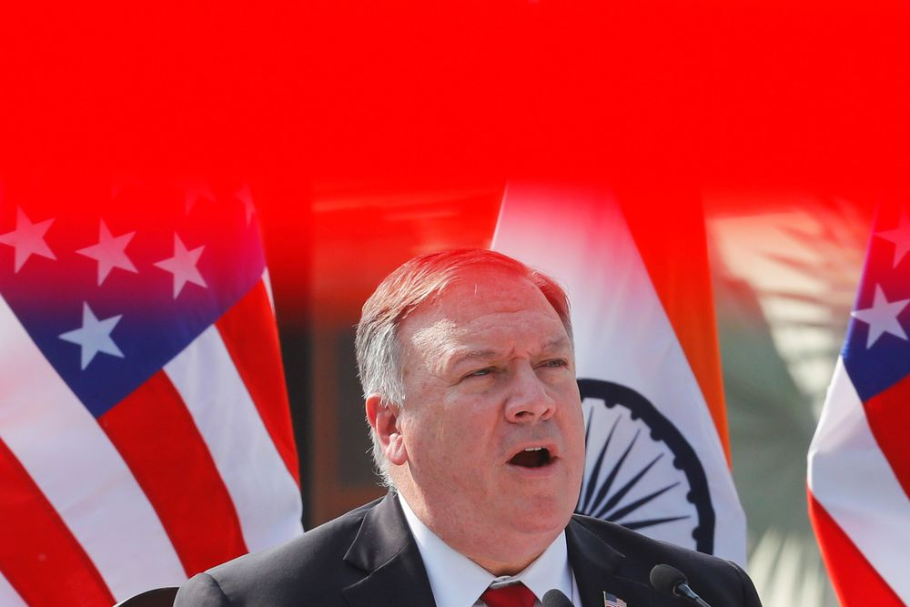 US Secretary of State Mike Pompeo addresses the media during a joint news conference with US Secretary of Defence Mark Esper and India's Defence Minister Rajnath Singh at Hyderabad House in New Delhi, India, October 27, 2020. — Reuters pic