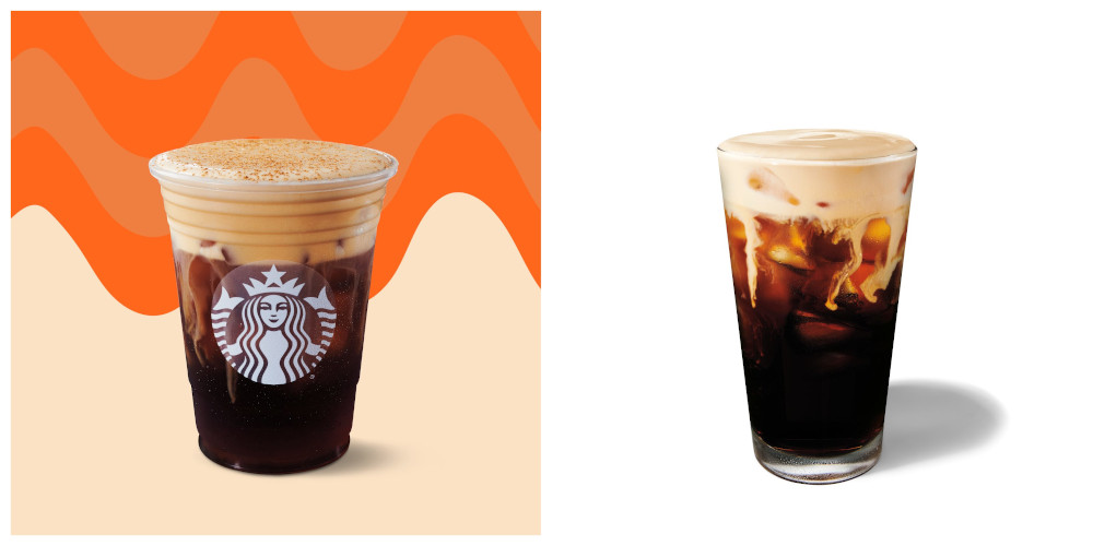 The Pumpkin Spice Cream Cold Brew (left) and the Pumpkin Spice Nitro Cold Brew are the newest additions to Starbucks' autumn menu. — Picture courtesy of Starbucks Malaysia