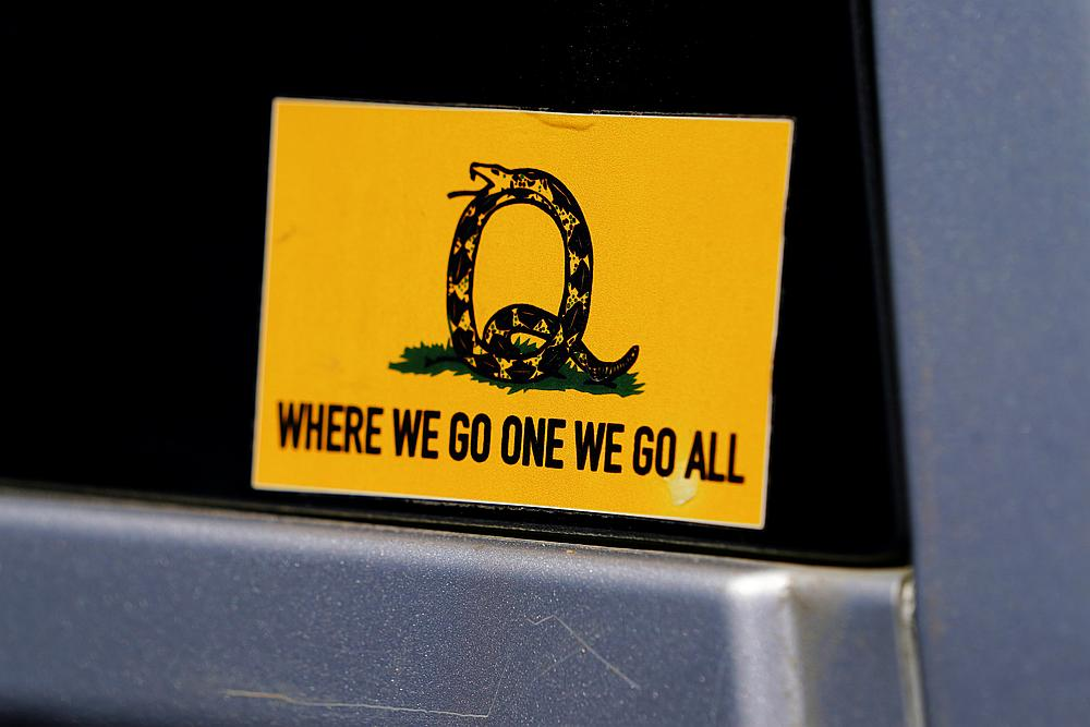A sticker that references the QAnon slogan is seen on a truck that participated in a caravan convoy in Adairsville, Georgia September 5, 2020. — Reuters pic