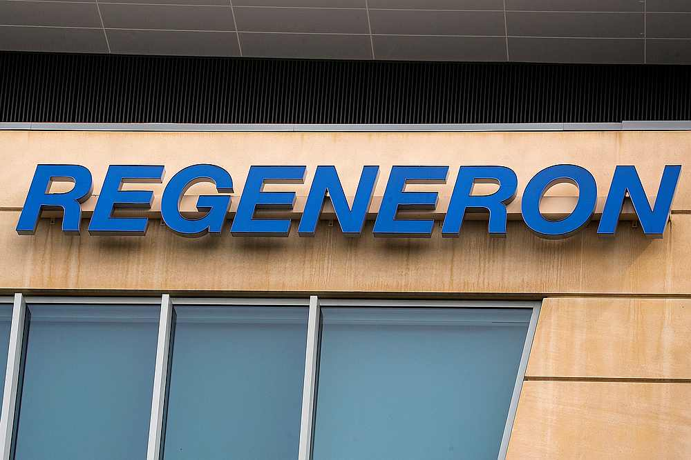 The Regeneron Pharmaceuticals company logo is seen on a building at the company's Westchester campus in Tarrytown, New York September 17, 2020. — Reuters pic