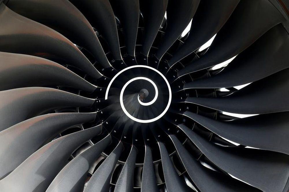 Rolls Royce engine of the first Fiji Airways A350 XWB airliner is seen at the aircraft builder's headquarters of Airbus in Colomiers near Toulouse, France, November 15, 2019. — Reuters file pic