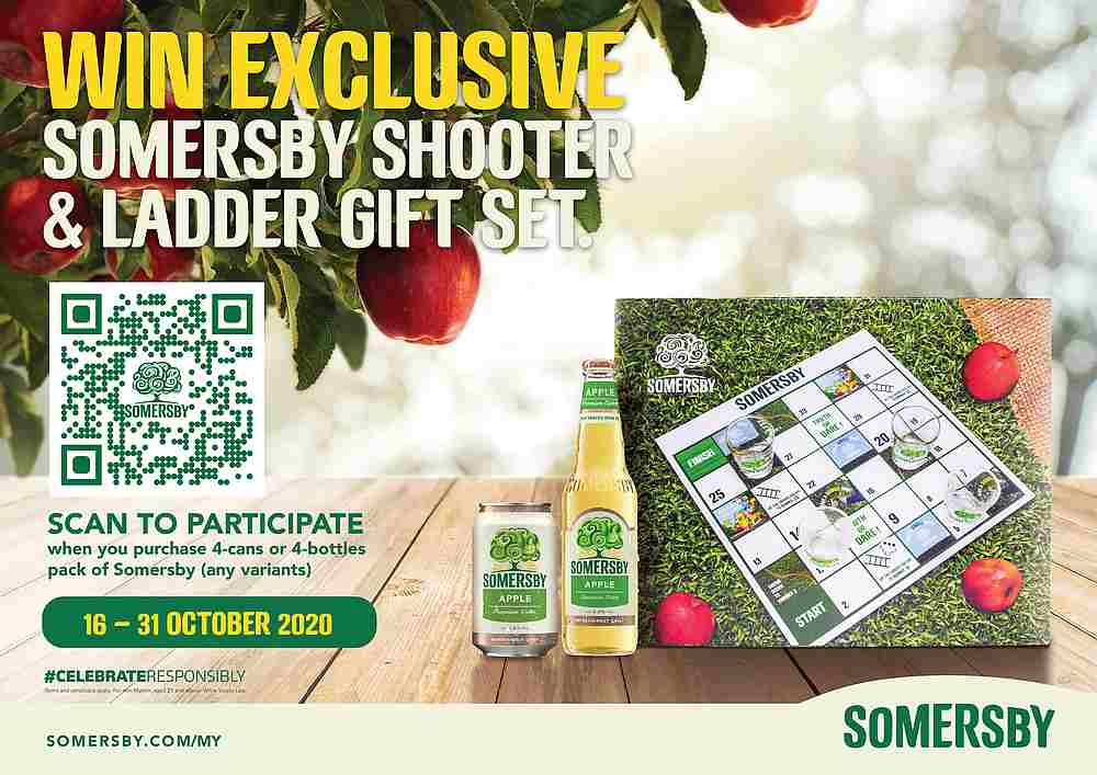 To stand a chance to win a Shooter and Ladder set, you'd have to scan the barcode when you purchase a four-can or four-bottle pack of Somersby's. — Picture courtesy of Carlsberg Malaysia