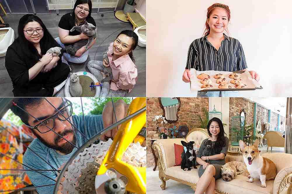 (Clockwise from top left) Sheryl Chia, Samantha Chia and Cherrylene Lee; Adeline Tan; Elaine Ng; and Haren Khatau. — Pictures by Raj Nadarajan/Justlyn Yeo/Elaine Ng/Haren Khatau via TODAY.