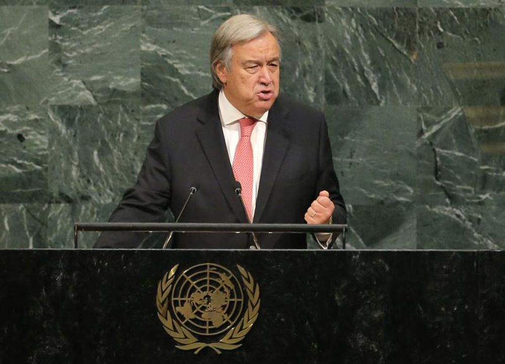 United Nations Secretary General Antonio Guterres addresses the 72nd United Nations General Assembly at UN headquarters in New York, September 19, 2017. — Reuters pic
