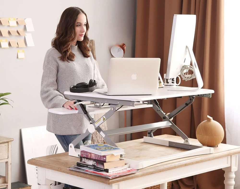 A flexible desk for both sitting and standing from FlexiSpot. — Picture courtesy of ClassicRiser via AFP