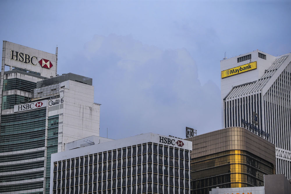 The buildings of HSBC Bank and Maybank are seen in Kuala Lumpur November 3, 2020. — Picture by Hari Anggara