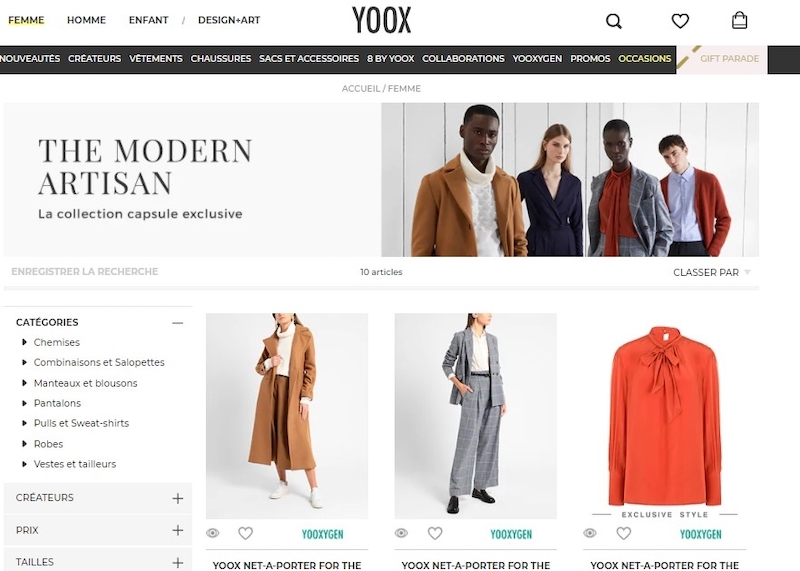 Yoox website, The Modern Artisan — Picture courtesy of Yoox