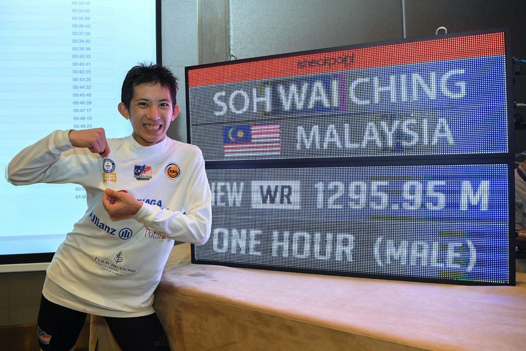 Soh Wai Ching has been confirmed as the new Guinness World Record holder for the Greatest Vertical Height Stair Climbing in One Hour (Male) with a distance of 1.295km. — Bernama pic