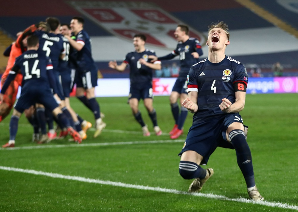 Scotland's Scott McTominay celebrates after the Euro 2020 Playoff Final match against Serbia at the Rajko Mitic Stadium in Belgrade November 12, 2020. — Reuters pic
