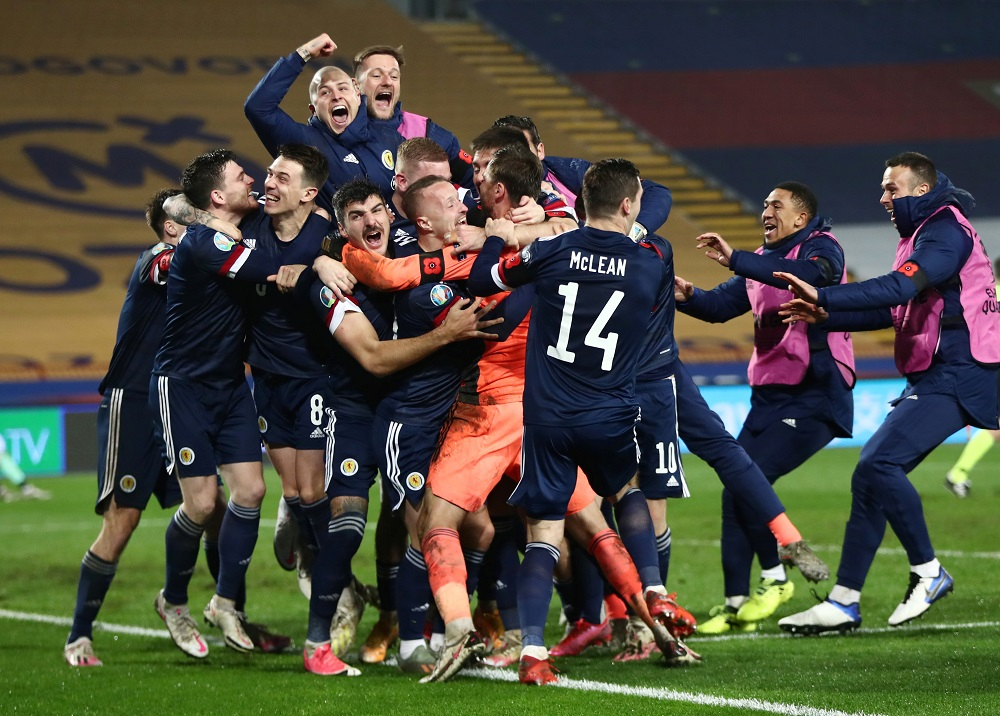 Scotland players celebrate after winning the Euro 2020 Playoff Final match against Serbia at the Rajko Mitic Stadium in Belgrade November 12, 2020. — Reuters pic
