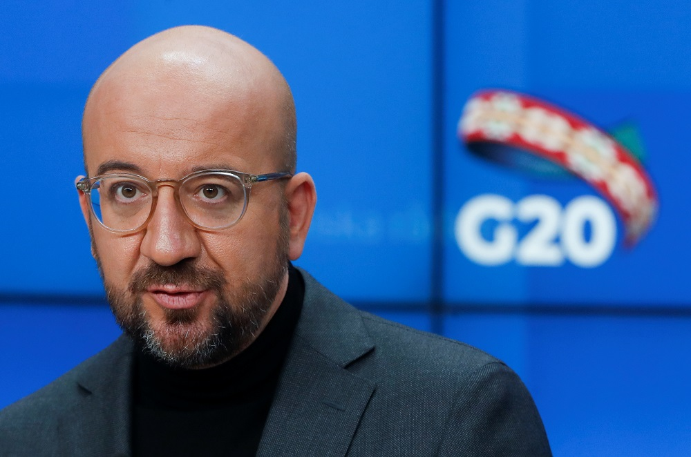 European Council President Charles Michel gives a news briefing ahead of G20 meeting in Saudi Arabia, in Brussels November 20, 2020. — Reuters pic