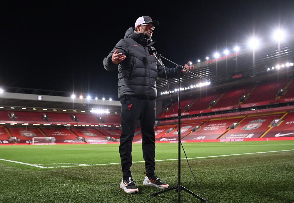 Liverpool manager Juergen Klopp is interviewed after the match against Leicester City at Anfield in Liverpool November 22, 2020. — Pool pic via Reuters
