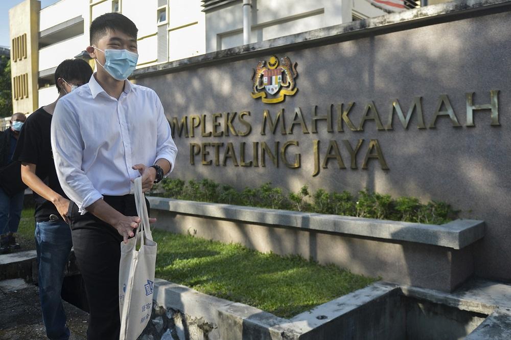 University of Malaya Association of New Youth (Umany) ex-president, Wong Yan Ke, arrives at the Petaling Jaya magistrate court November 13, 2020. — Pictures by Miera Zulyana
