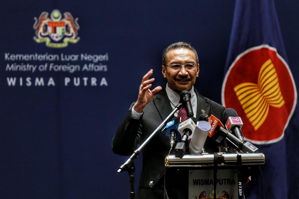 Foreign Minister Datuk Seri Hishammuddin Hussein speaks during the 8th US-Asean Summit in Kuala Lumpur November 15, 2020. ― Picture by Ahmad Zamzahuri