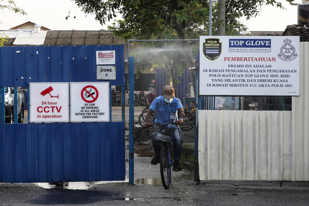 A general view of the entrance of Top Glove Corporation Berhad's male staff dormitories in Klang November 16, 2020. — Picture by Yusof Mat Isa