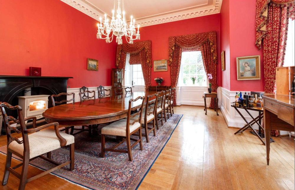 A view of the grand dining room at Skeldon House. — Screen capture via Savills.com