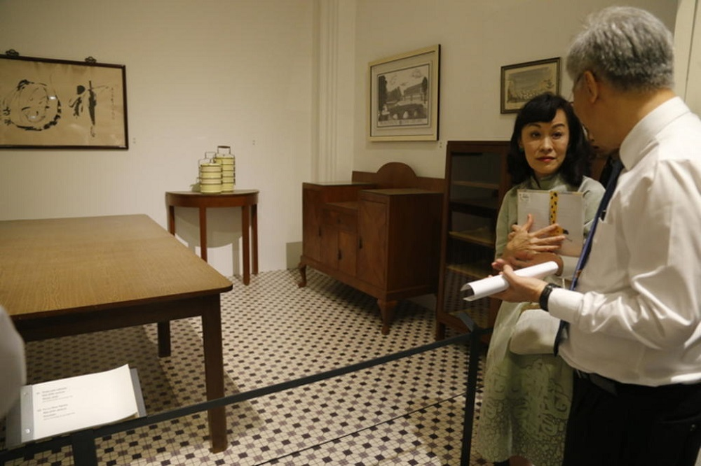 Lee Suet Fern in 2015 in front of an exhibit at the We Built a Nation exhibit at the National Museum of Singapore made up of furniture and artefacts from the late Lee Kuan Yew's Oxley Road home. — TODAY pic