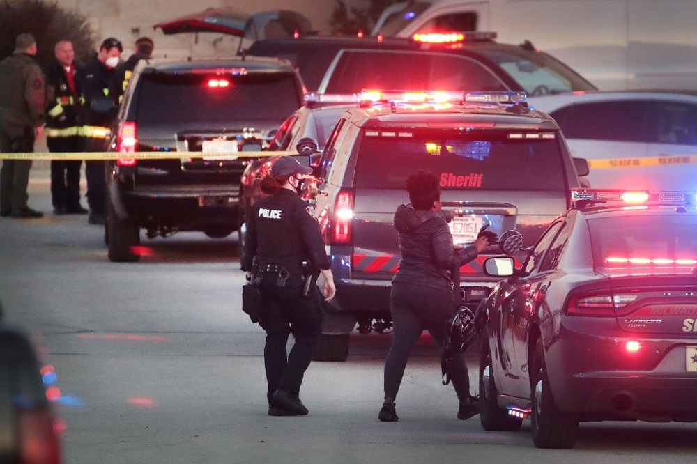 Police secure the scene outside the Mayfair Mall after a gunman opened fire on November 20, 2020 in Wauwatosa, Wisconsin. — AFP pic
