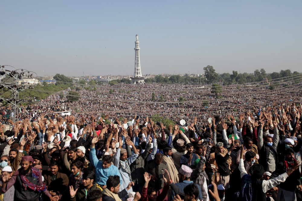 People gather to attend funeral services for Khadim Hussain Rizvi, at the Minar-e-Pakistan monument in Lahore, Pakistan November 21, 2020. — Reuters pic